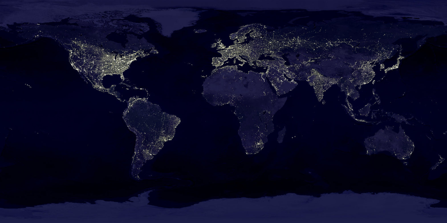 Composite photo of all the continents on Earth as seen from space, highlighting concentrated areas of light pollution.