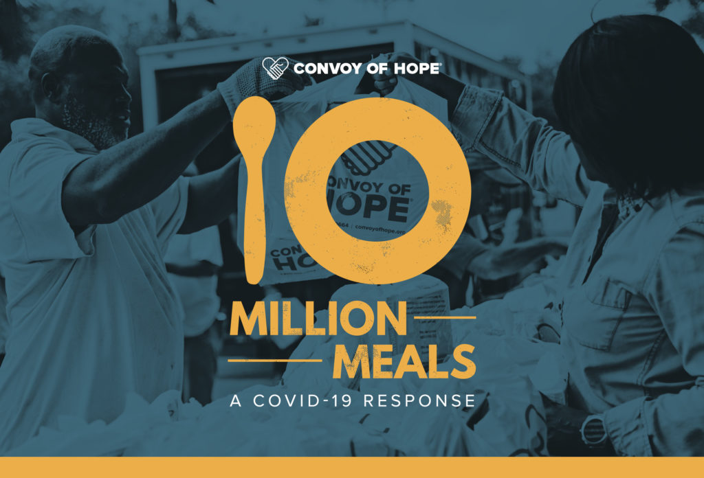 Text reads: Convoy of Hope 10 Million Meals a Covid-19 response overlayed on a photo of a volunteer handing a meal to a man.