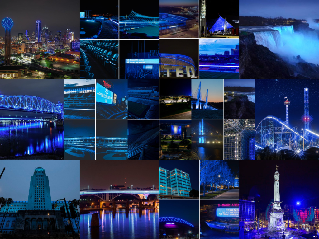A collage of landmarks across the USA lit in blue for the #LightItBlue campaign.