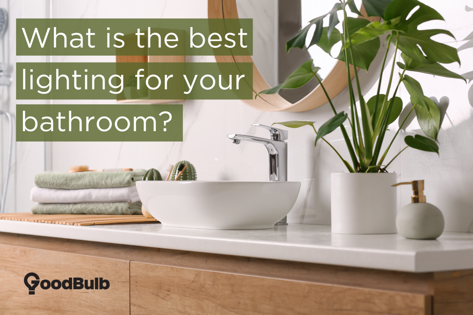 "A bathroom vanity with a green plant next to the sink, and a title reading ""What is the best lighting for your bathroom?"""