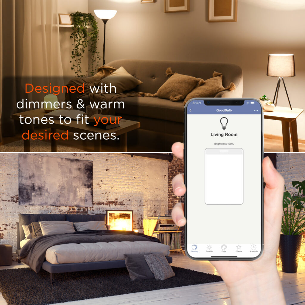 Two photos showing different lighting in a living room, controlled by a smart phone with a GoodBulb interface. Text reads: designed with dimmers and warm tones to fit your desired scenes.