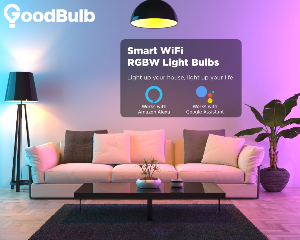 "GoodBulb logo over a living room scene with a couch, a plant, and purple and blue light. Overlay text reads ""Smart Wifi RGBW Light Bulbs"""